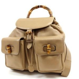 Gucci Beige Leather Bamboo Backpack 234023